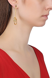 Gold Plated Two Drop and Chain Earrings