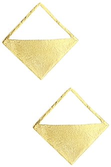 Gold Plated Square Earrings by Aaree Accessories