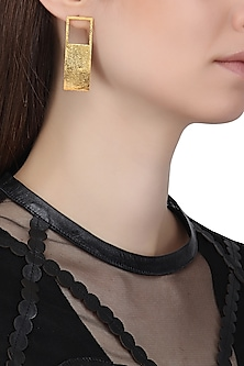 Gold Plated Rectangular Earrings
