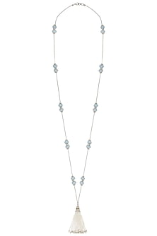 Silver plated tassel necklace by SAMSARA Jewels by RH