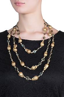 Gold plated multi strand pearl necklace by SAMSARA Jewels by RH