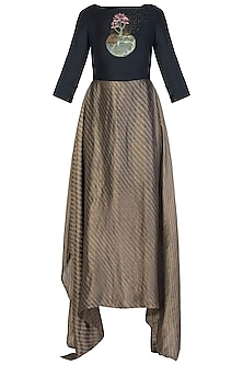 Gold and Black Embroidered Maxi Dress