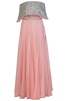 Blue Off Shoulder Embroidered Crop Top with Blush Pink Flared Skirt