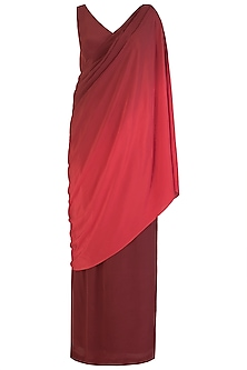 MAROON OMBRE DRAPE GOWN