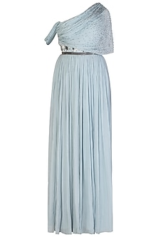 Powder Blue Ruched Gown with Belt