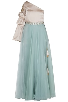 Duck Egg Blue Flared Lehenga Skirt