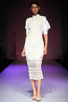 Off-white lace embroidered net dress with white cut out shirt dress by Archana Rao