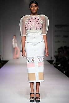 Off white floral applique structured sleeves crop top by Archana Rao