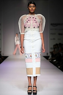 Color blocked oversized buttons placket skirt by Archana Rao