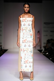 Off white botanical print flap dress with leather straps by Archana Rao