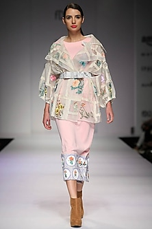 Pink mosaic tile print  dress by Archana Rao