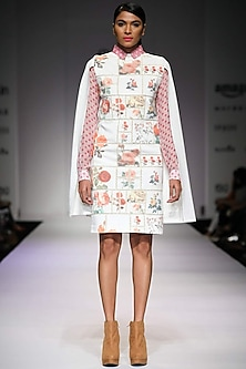 Off white botanical printed cape dress by Archana Rao