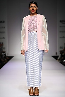 Off-white and blue floral print fitted skirt  by Archana Rao
