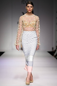 White colourblock printed pencil skirt by Archana Rao