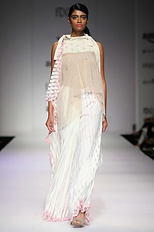 Off white and pink striped knit sari by Archana Rao