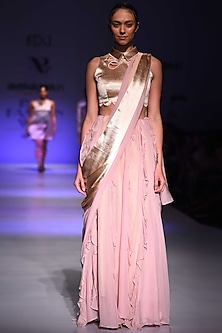 Champagne and Mauve Ruffled Saree by Archana Rao