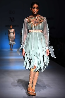 Mint Handkerchief Dress with Embroidered Belt by Archana Rao