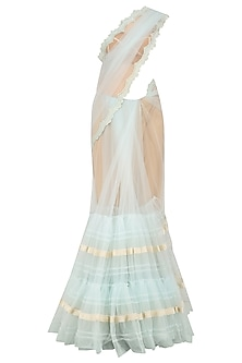 Powder Blue Lace Work Two Tiered Saree