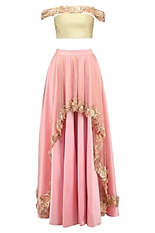Gold Rosette Embellished Off Shoulder Blouse and Pink Skirt Set by Archana Rao