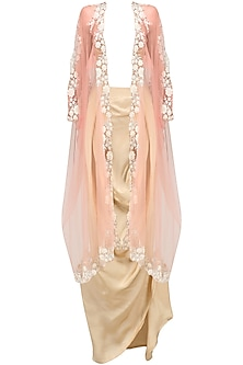 Baby Pink Floral Embroidered Cape and Gold Drape Skirt Set