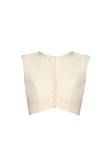 White Quilted Sleeveless Blouse