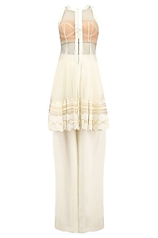 White Lace Embroidered Jacket, Bustier and Palazzo Pants Set