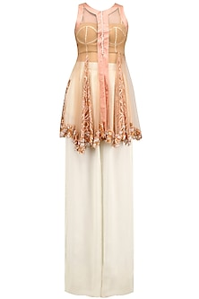 Peach Lace Embroidered Jacket, Bustier and Palazzo Pants Set by Archana Rao