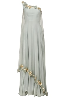 Blue Grey Rosette Embroidered One Shoulder Gown by Archana Rao