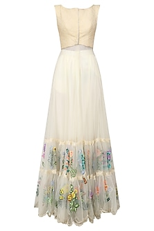Off White Floral Embroidered Tiered Anarkali by Archana Rao