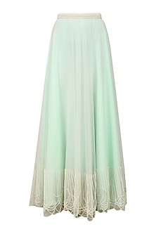 Powder Blue Pearl Embroidered Pleated Skirt