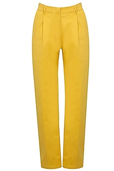 Mustard cotton trousers by Archana Rao