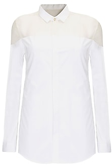 White full sleeves collar shirt by Archana Rao