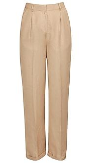 Khaki classic trousers by Archana Rao