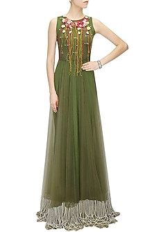 Green pearl detail gown by Archana Rao