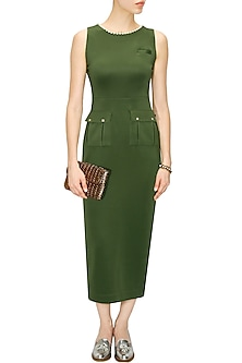 Military green utilitarian dress by Archana Rao