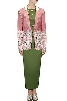 Pink organza jacket by Archana Rao