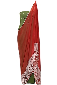 Green and maroon draped sari by Archana Rao