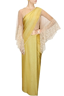 Mustard and mint blue two way sari with nude blouse by Archana Rao