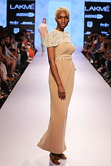 Nude sculpt skirt by Archana Rao