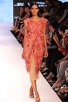 Nude and maroon cutwork jacket by Archana Rao