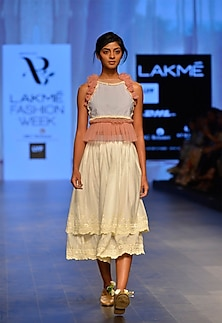 Blue and pink pinstripe rosette crop top by Archana Rao