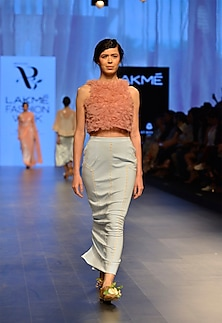 Rosette hand embroidered crop top by Archana Rao