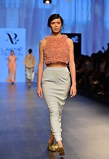 Powder blue lace sculpt skirt by Archana Rao