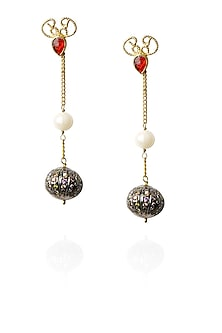 Gold finish red stone and zircon ball earrings by Art Karat