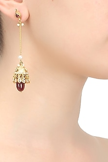 Gold finish kundan stone and ruby drop earrings by Art Karat