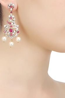 Gold finish red and white zircon stone pearl drops earrings by Art Karat