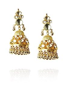 Gold finish kundan stone jhumki drop earrings by Art Karat