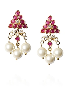 Gold finish zircon and pearl drops earrings by Art Karat
