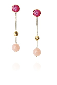 Gold finish pink stone chain hanging earrings by Art Karat