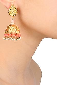 Gold Finish Temple Earrings by Art Karat